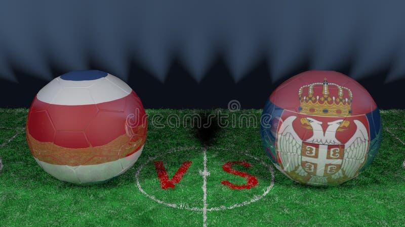 哥斯达黎加对塞尔维亚 2018年世界杯足球赛 原始的3D图象 库存例证