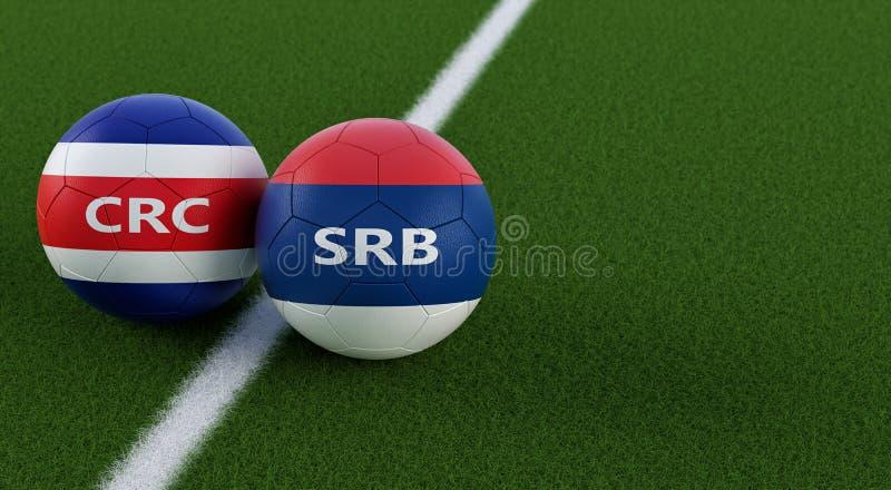 哥斯达黎加对 塞尔维亚足球比赛-在肋前缘Ricas的足球和在足球场的塞尔维亚全国颜色 向量例证