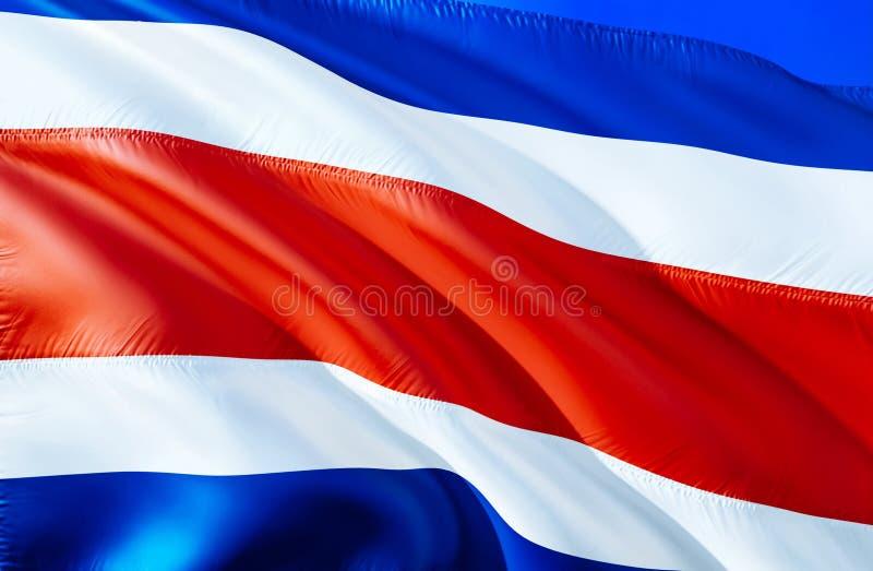 哥斯达黎加旗子 3D挥动的旗子设计 哥斯达黎加的国家标志,3D翻译 全国颜色和全国南部 免版税库存图片