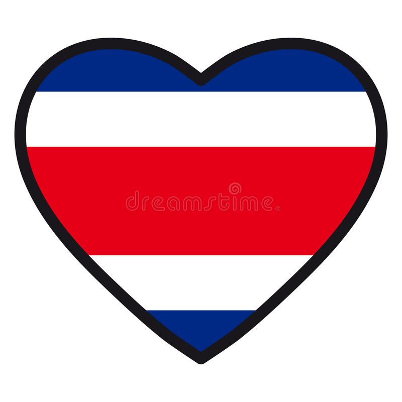 哥斯达黎加的旗子以心脏的形式与不同的contou 皇族释放例证