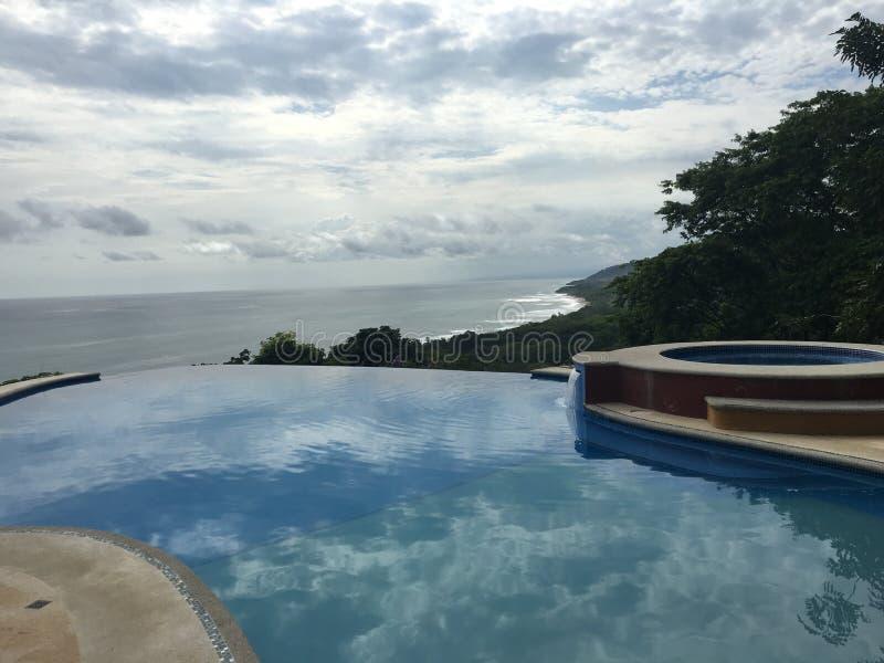 哥斯达黎加的游泳池边视图没有阻碍 库存照片