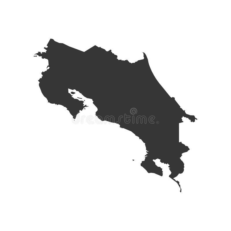 哥斯达黎加地图 库存例证