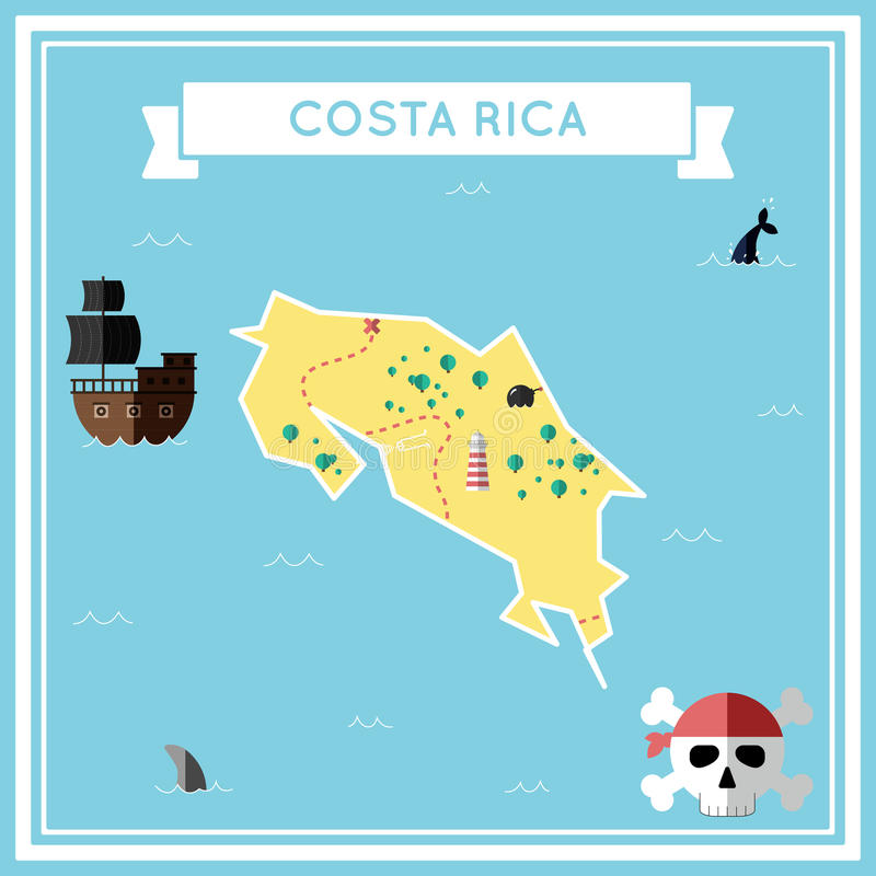 哥斯达黎加的平的珍宝地图 向量例证