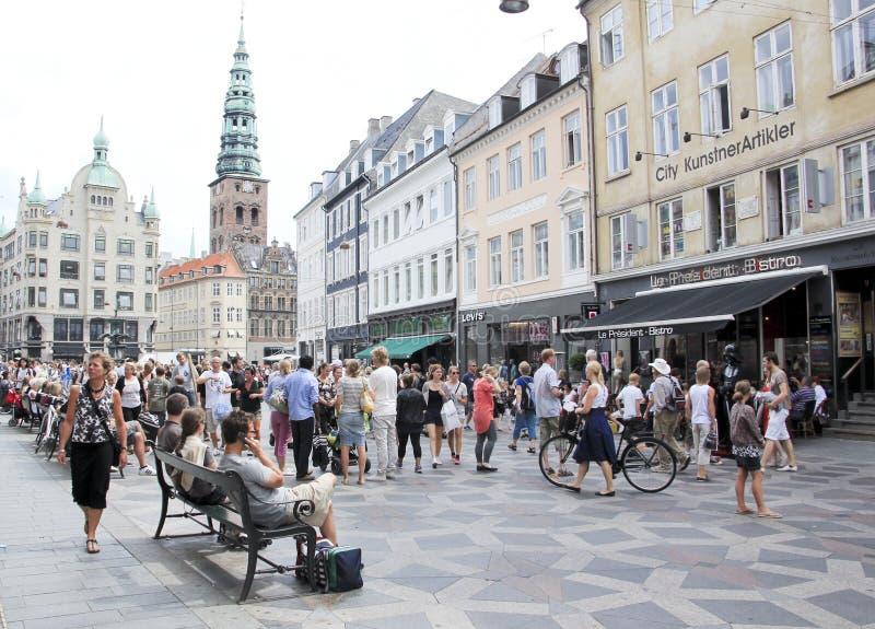 哥本哈根丹麦购物街道stroget 库存图片