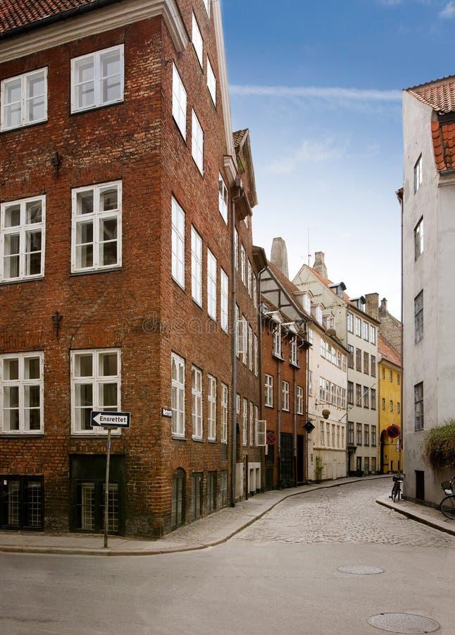 哥本哈根古雅街道 免版税库存图片