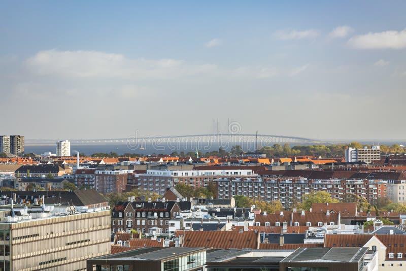 哥本哈根和厄勒海峡桥梁,丹麦,社论 免版税库存照片