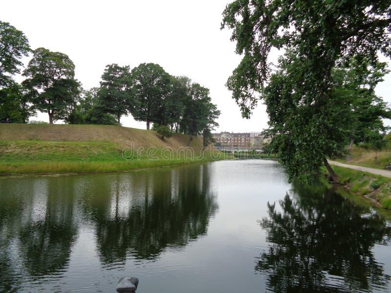 哥本哈根堡垒护城河 免版税库存图片