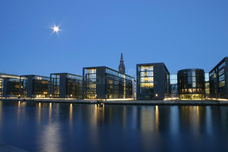 哥本哈根晚上 免版税库存图片