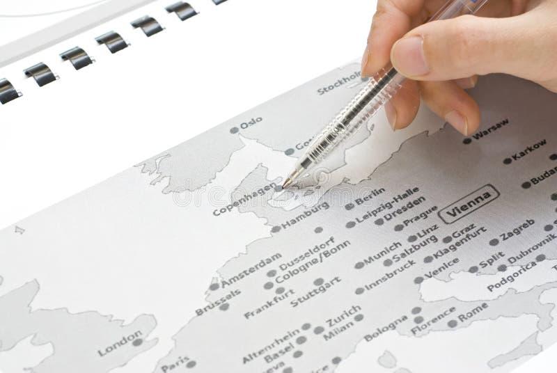 哥本哈根欧洲映射 免版税库存图片