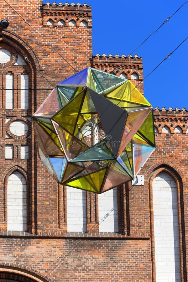哥本哈根玛丽亚教会,与伟大的五颜六色的轻的球形,哥本哈根,丹麦的门面 免版税库存照片