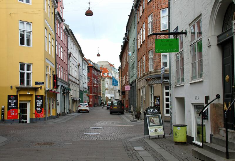 哥本哈根的沃尔金街上没多少人 库存照片