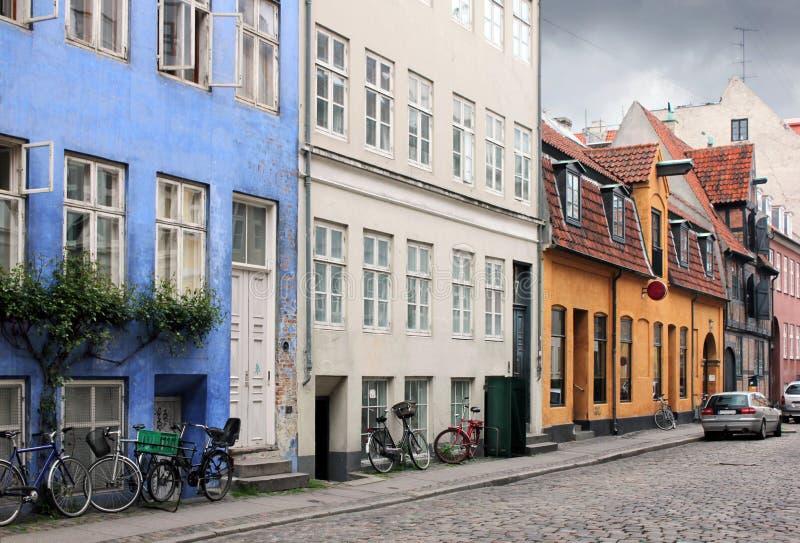 哥本哈根老街道 免版税库存图片