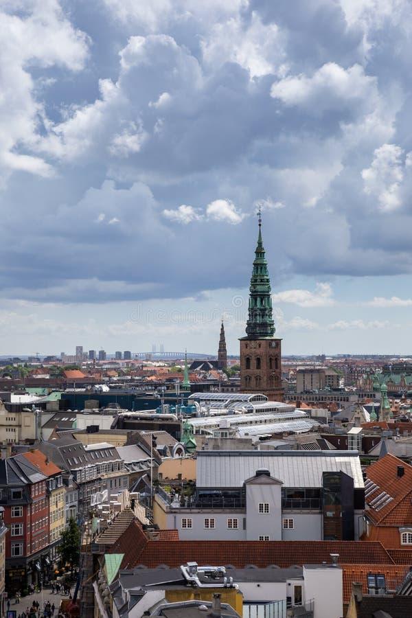 哥本哈根,丹麦全景鸟瞰图  免版税库存照片