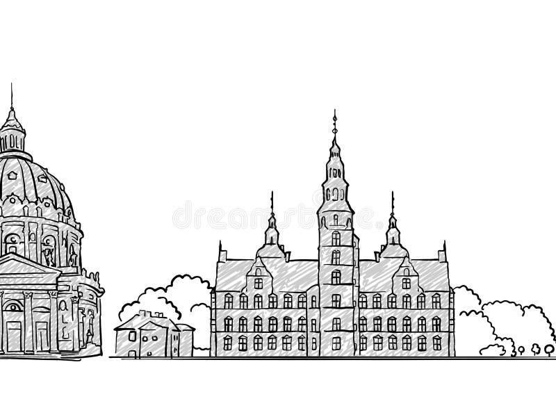 哥本哈根,丹麦著名旅行剪影 库存例证