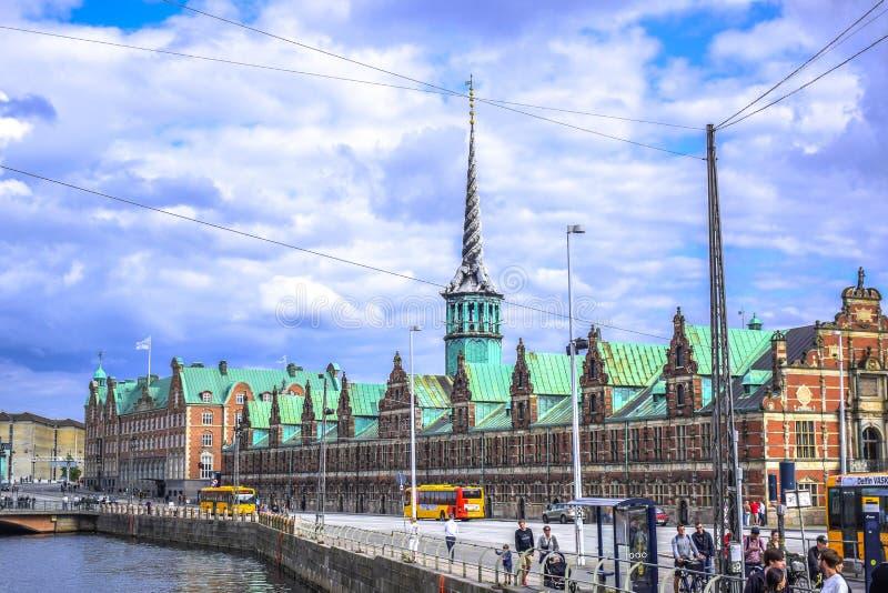 哥本哈根,丹麦:Børsen,在17世纪修造的联交所位于哥本哈根的中心 免版税库存图片