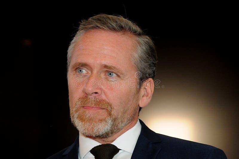 哥本哈根/丹麦15 2018年11月 丹麦的三位部长外交事务的安德斯Samuelsen丹麦部长大臣为 免版税库存照片