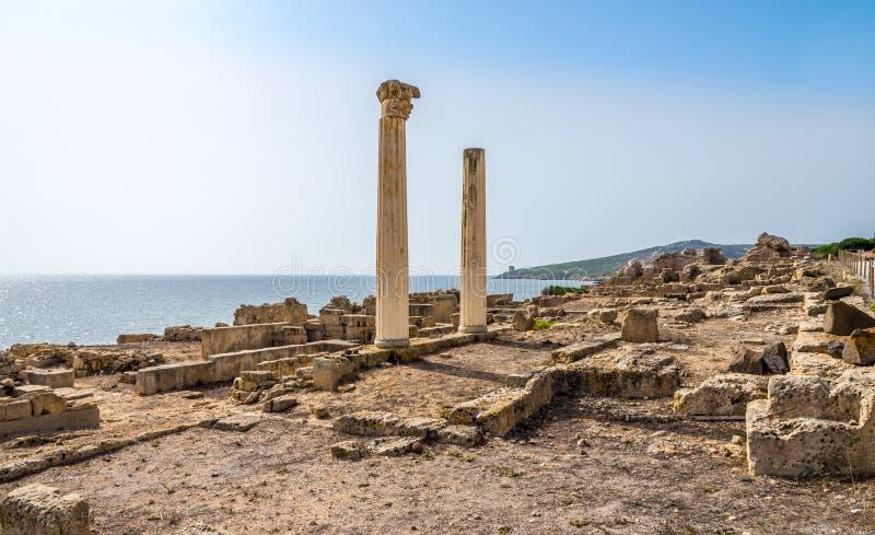 哥林斯人古老Tharros专栏和废墟在撒丁岛 免版税库存图片