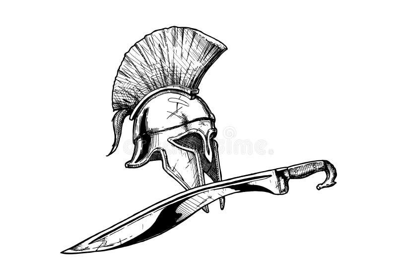 哥林斯人盔甲和kopis剑 向量例证