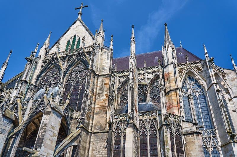 哥特式圣徒皮埃尔和圣徒保罗大教堂在Troye 库存照片