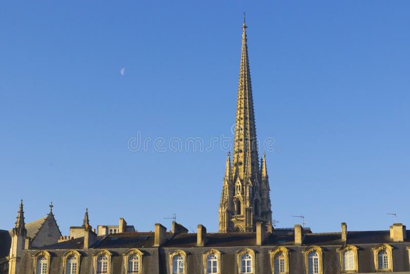哥特式大教堂尖顶在红葡萄酒,法国 库存图片