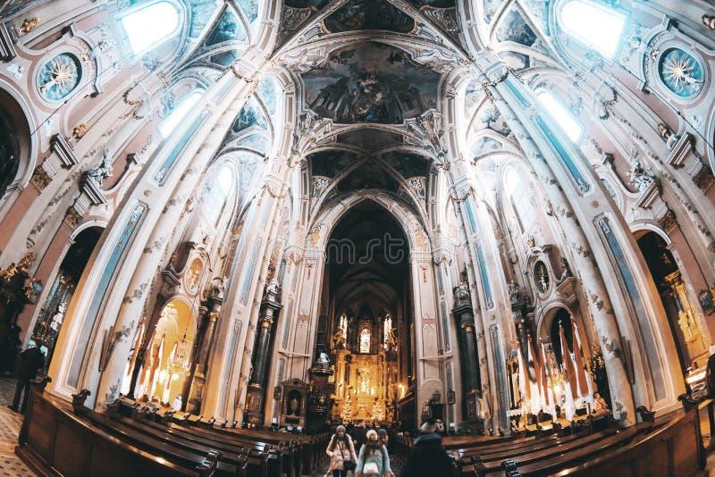 哥特式大教堂的内在大厅 免版税库存照片