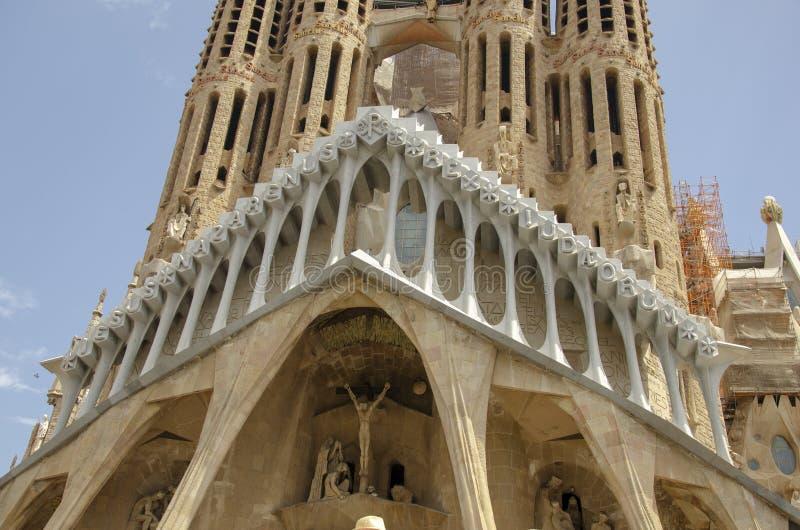 哥特式大教堂门面,巴塞罗那,加泰罗尼亚,西班牙 在1298年修造 库存图片