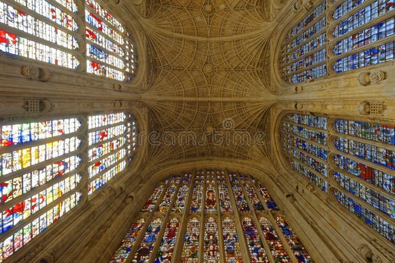 哥特式天花板 College Chapel国王拱顶式顶棚 免版税库存图片