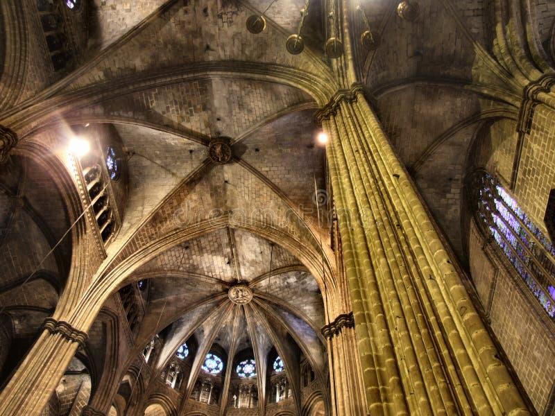 哥特式巴塞罗那的大教堂 库存图片