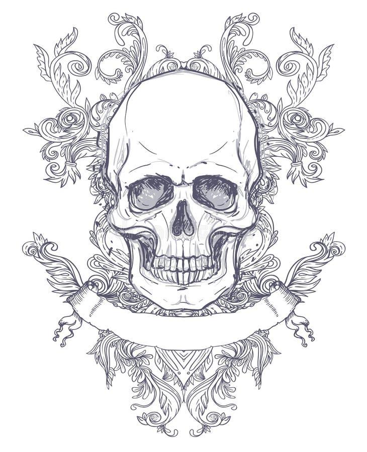 哥特式徽章有头骨的 另外的多孔黏土eps格式以图例解释者包括标签葡萄酒 减速火箭的传染媒介desi 皇族释放例证