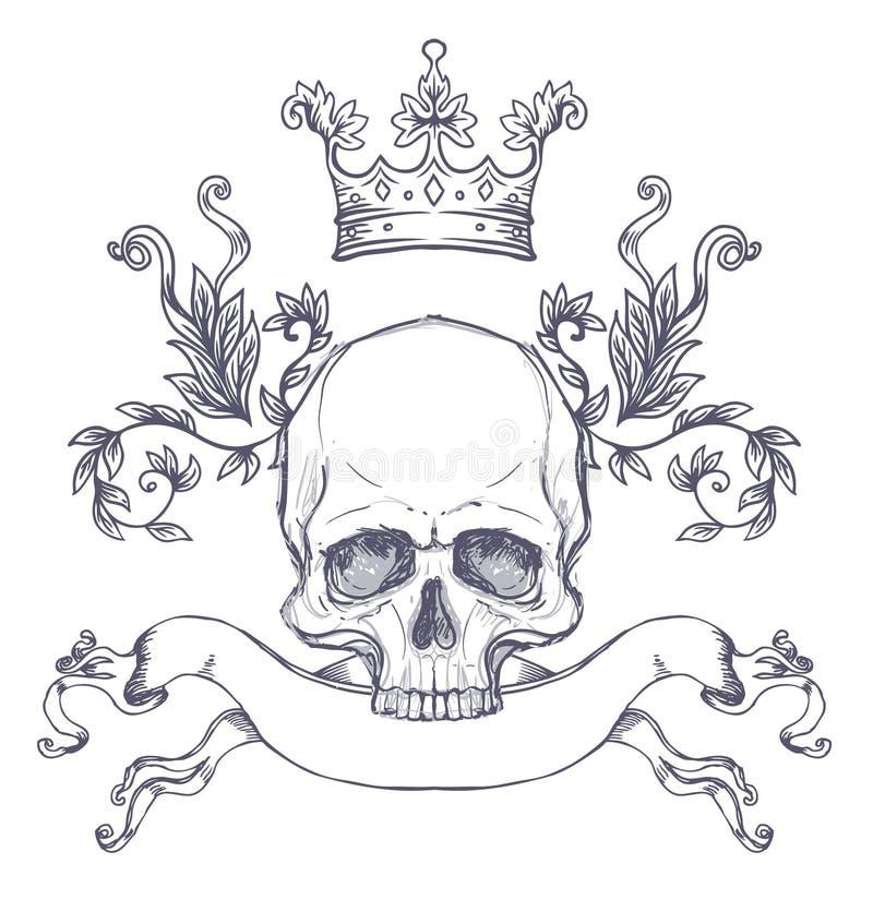 哥特式徽章有头骨的 另外的多孔黏土eps格式以图例解释者包括标签葡萄酒 减速火箭的传染媒介desi 向量例证