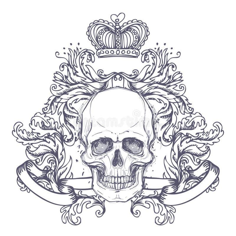 哥特式徽章有头骨的 另外的多孔黏土eps格式以图例解释者包括标签葡萄酒 减速火箭的传染媒介desi 库存例证