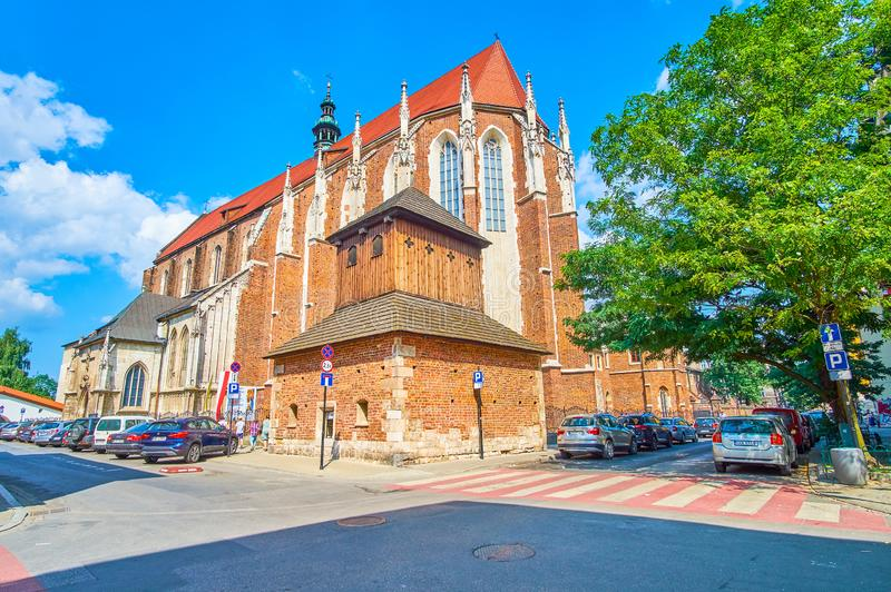 哥特式样式的教会在克拉科夫,波兰 库存图片