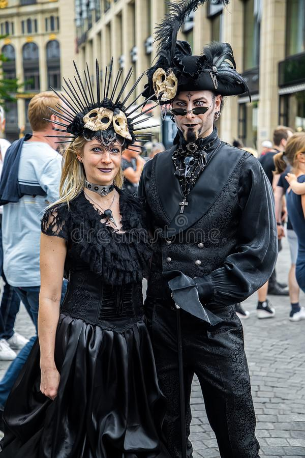哥特式的莱比锡和steampank节日在夏天2019年 免版税库存图片