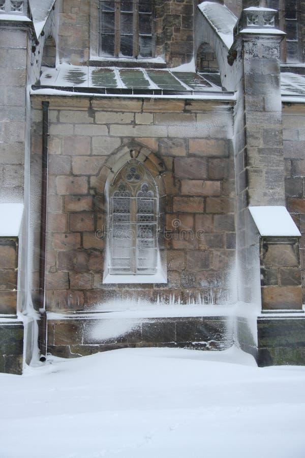 冻哥特式窗口 免版税图库摄影