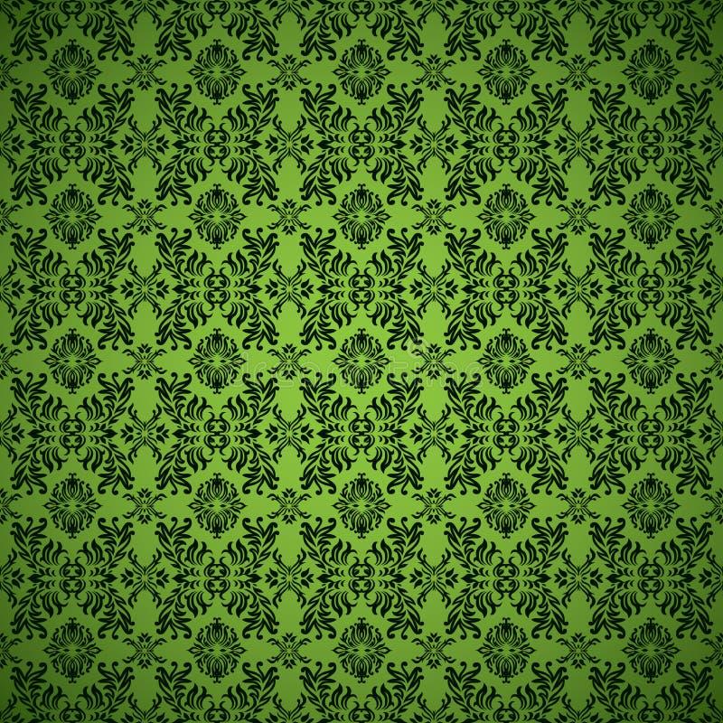 哥特式绿色无缝的墙纸 向量例证