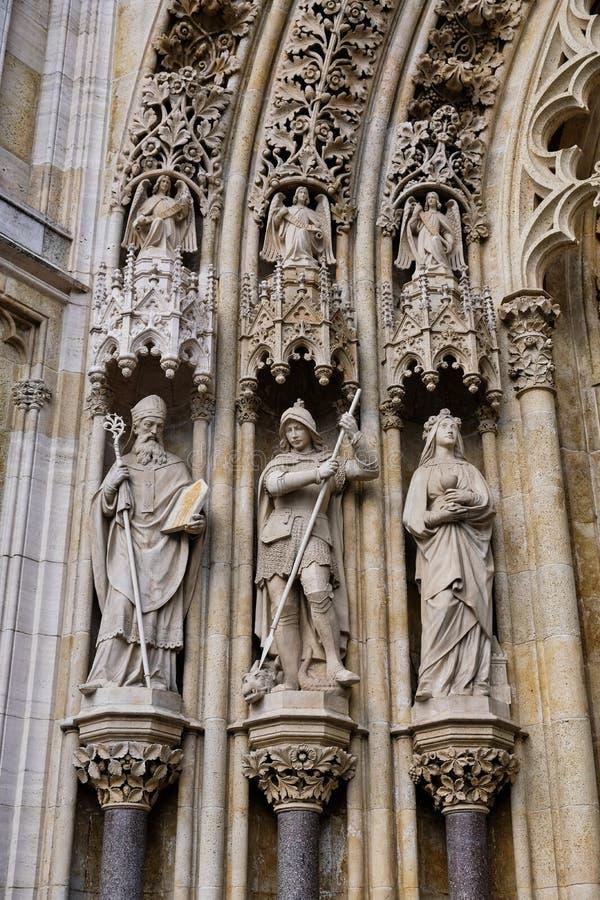 哥特式萨格勒布大教堂,克罗地亚细节  免版税库存图片