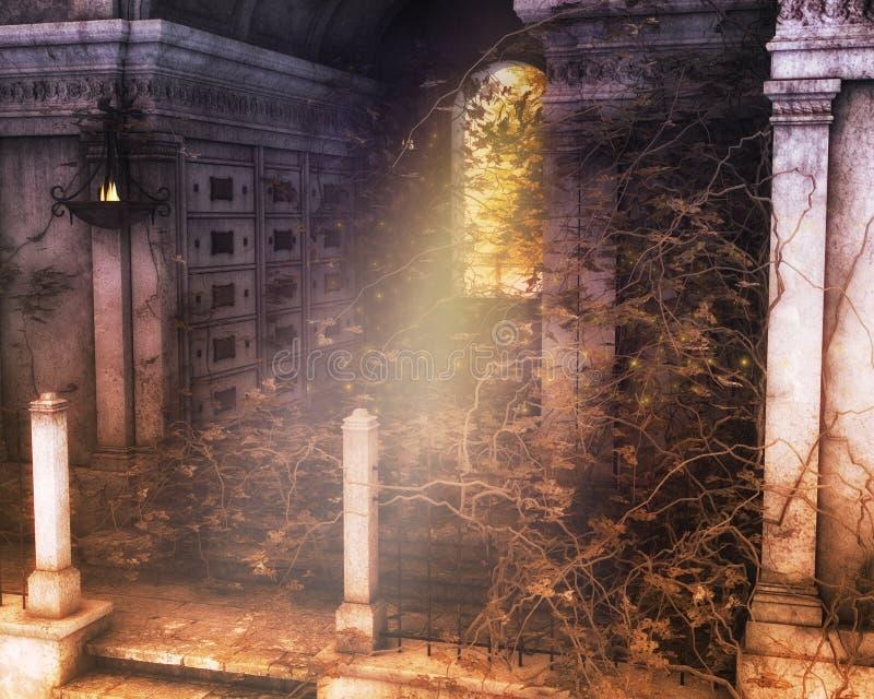 哥特式风景坟茔背景 向量例证