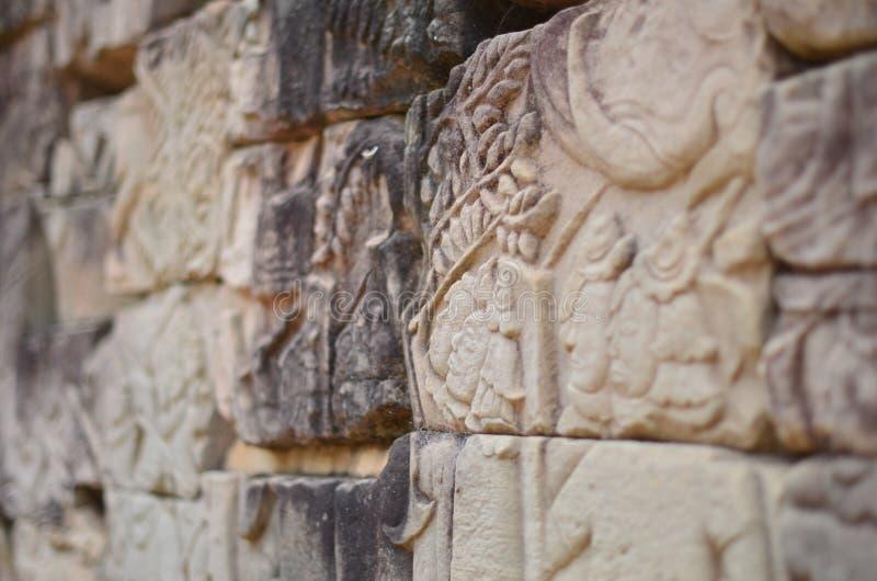 吴哥瓦特石制品和石工 免版税库存照片