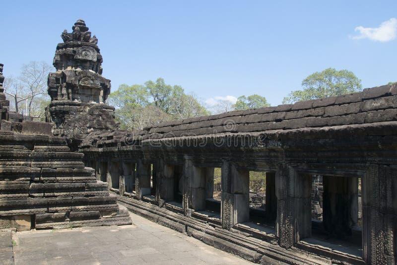 吴哥瓦特- Ta Prohm高棉市的寺庙废墟墙壁吴哥窟-陈述纪念碑 库存图片
