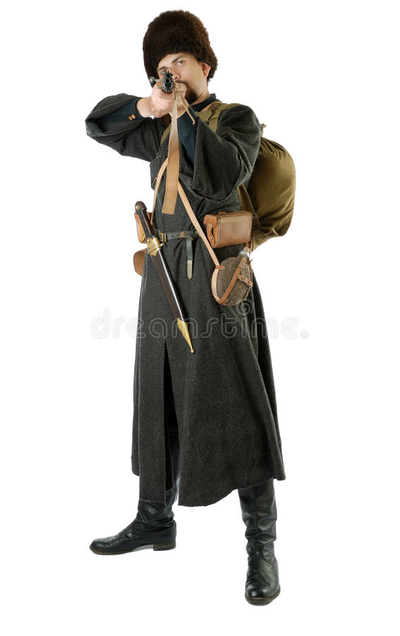 哥萨克人指向步枪俄语 库存照片