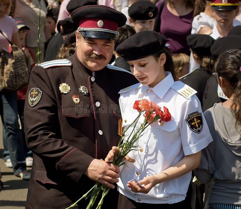 哥萨克官员在胜利天庆祝时 免版税库存图片