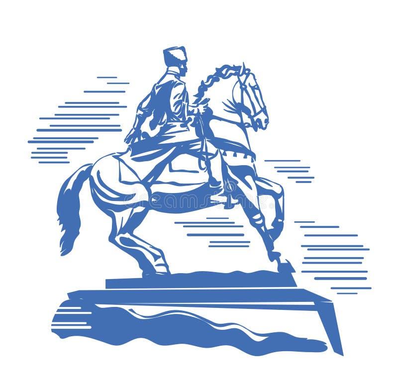 哥萨克骑马的古铜色雕象一匹疾驰的马 库存照片
