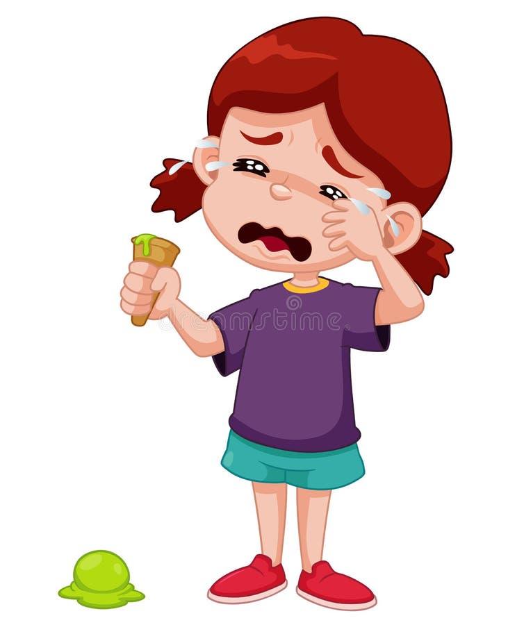 哭泣与冰淇凌下落的动画片女孩 皇族释放例证