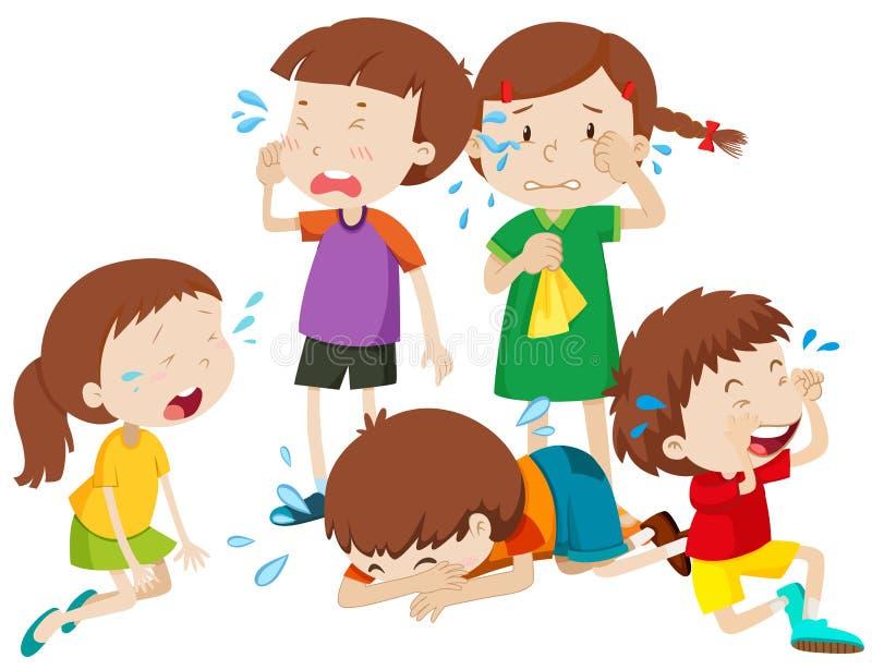 哭泣与泪花的五个孩子 向量例证