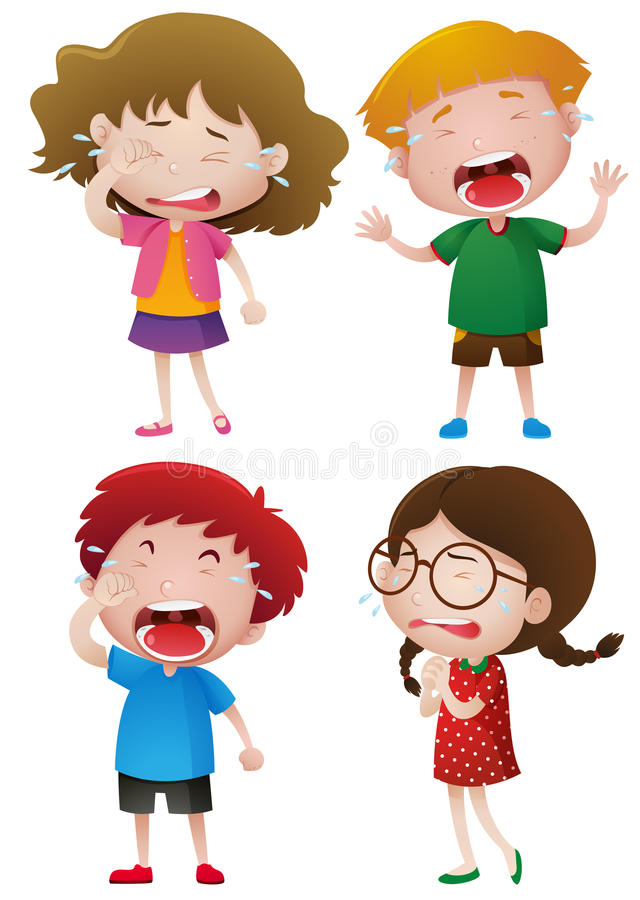 哭泣与泪花的四个孩子 向量例证