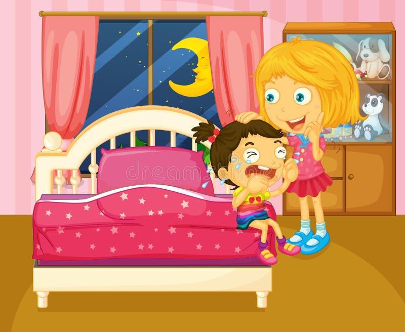 哭泣在她的在屋子里面的姐妹旁边的一个小女孩 向量例证