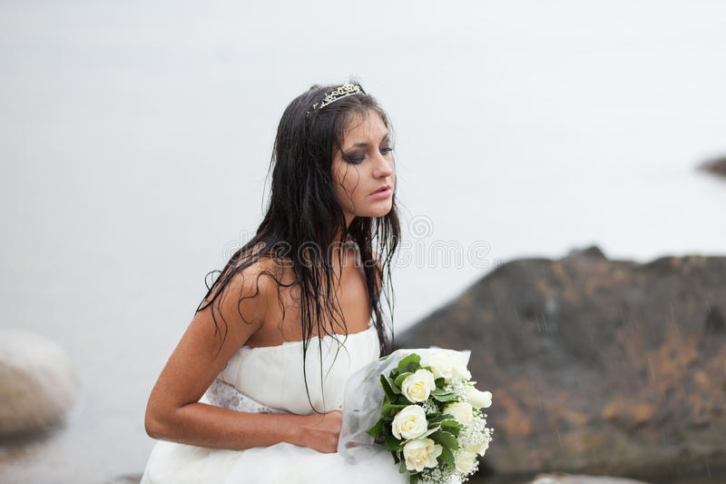 哭泣在雨中 库存图片