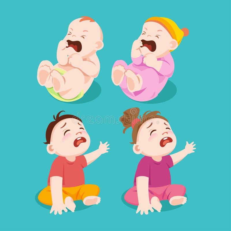 哭泣或悲伤男婴和女婴 库存例证