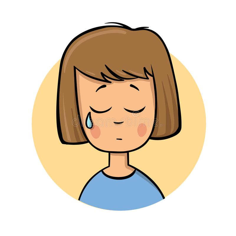 哭泣的动画片女孩 平的设计象 五颜六色的平的传染媒介例证 背景查出的白色 皇族释放例证