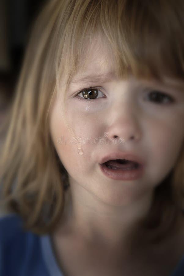 哭泣的女孩少许泪花 库存照片